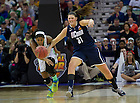 Apr 7, 2013; Notre Dame Ariel Braker and Connecticut Stefanie Dolson race for a loose ball during the second half of the semifinals of the 2013 NCAA women's basketball Final Four at the New Orleans Arena. Connecticut defeated Notre Dame 83 to 65. Photo by Barbara Johnston/ University of Notre Dame