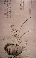 "Chinese Painting:  ""Orchid and Roses"", 1572.  ink on paper, hanging scroll, by a female calligrapher, Ma Shouzhen.  Artist's inscription: Jasper shadows brush against Xiang River, a pure frangrance floats from the secluded valley."