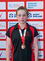 Picture by Allan McKenzie/SWpix.com - 05/08/2017 - Swimming - Swim England National Summer Meet 2017 - Ponds Forge International Sports Centre, Sheffield, England - Kate Baxter takes bronze in the womens 14yrs 100m backstroke.