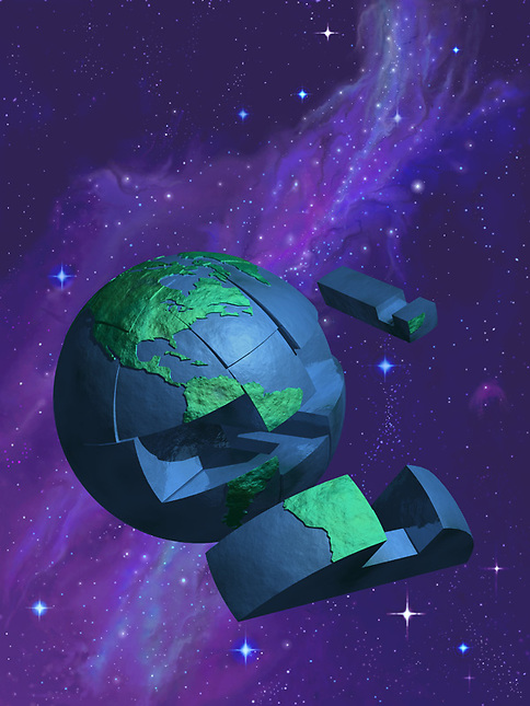 Earth puzzel in space