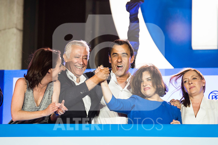 Andrea Levy, Javier Arenas, Fernando Martinez Maillo, Soraya Saenz de Santamaria and Elvira Fernandez Balboa during the celebration of the victory of the Spanish Elections at the headquarter of Partido Popular in Madrid. June 26, 2016. (ALTERPHOTOS/BorjaB.Hojas)