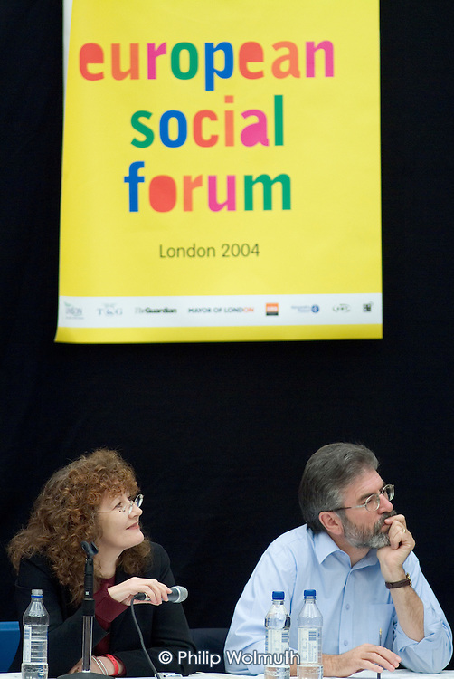 Sinn Fein leader Gerry Adams and Dr Mary Hickman, of London Metropolitan University, in an Ireland seminar at the European Social Forum in Alexandra Palace, London