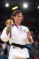 LONDRES, INGLATERRA, 31 AGOSTO 2012 - PARAOLIMPIADAS JUDO - A judoca brasileira Lucia Teixeira conquistou a medalha de prata, nesta sexta-feira, na ExCel Arena. Lucia, que é deficiente visual, disputou a final da categoria até 57 kg contra Afag Sultanova, do Azerbaijão, mas acabou derrotada em menos de um minuto ao levar um ippon. nos Jogos Olímpicos de Londres. (FOTO: GEORGINA GARCIA / BRAZIL PHOTO PRESS).