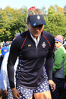 Lexi Thompson (USA) walks off the 17th green during Day 3 Singles at the Solheim Cup 2019, Gleneagles Golf CLub, Auchterarder, Perthshire, Scotland. 15/09/2019.<br /> Picture Thos Caffrey / Golffile.ie<br /> <br /> All photo usage must carry mandatory copyright credit (© Golffile | Thos Caffrey)