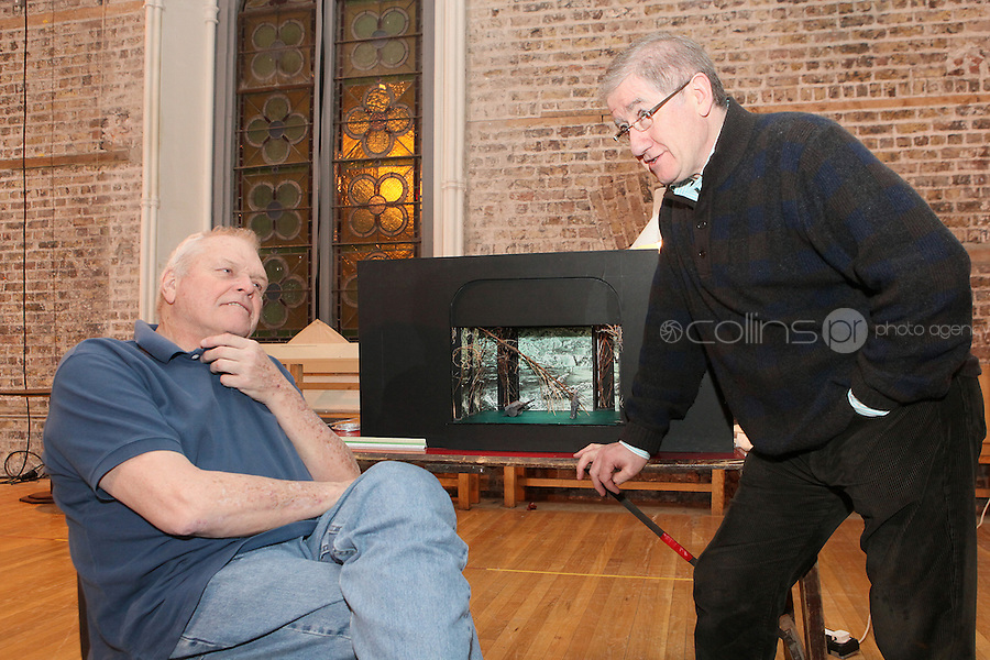 NO REPRO FEE.13/12/2010. The Field rehearsals.  Brian Dennehy performing the iconic role of 'The Bull' McCabe and Director Joe Dowling are pictured with a scale model of the stage at Smock Alley Theatre, Temple Bar, Dublin for their first day of rehearsals for John B Keane's award-winning play, The Field. It will be directed by Joe Dowling. The play returns to The Olympia Theatre where it premiered over 45 years ago and will run from January 13 through to 12 February. Picture James Horan/Collins Photos
