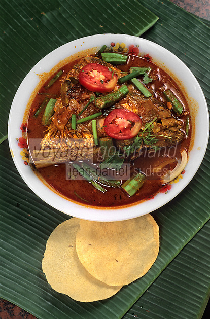 "Asie/Singapour/Singapour : Little India - Détail ""fish-head curry"" (curry de têtes de poisson)"