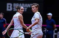 Den Bosch, The Netherlands, Februari 10, 2019,  Maaspoort , FedCup  Netherlands - Canada, doubles match Sunday : Demi Schuurs and Bibianne Schoofs (NED)<br /> Photo: Tennisimages/Henk Koster