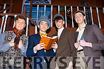 Jim Cadogan, Padraig Harrington, Louis Byrne and John McCrohan getting ready back stage on the set of My Fair Lady on Siamsa Tire on Thursday night last.