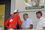 Swiss National Champion Fabian Cancellara (SUI) Team Saxo Bank being congratulated by former winner Eddy Merckx after he wins the Prologue Stage 1 of the 2009 Tour de France a 15.5km individual time trial held around Monaco. 4th July 2009 (Photo by Eoin Clarke/NEWSFILE)