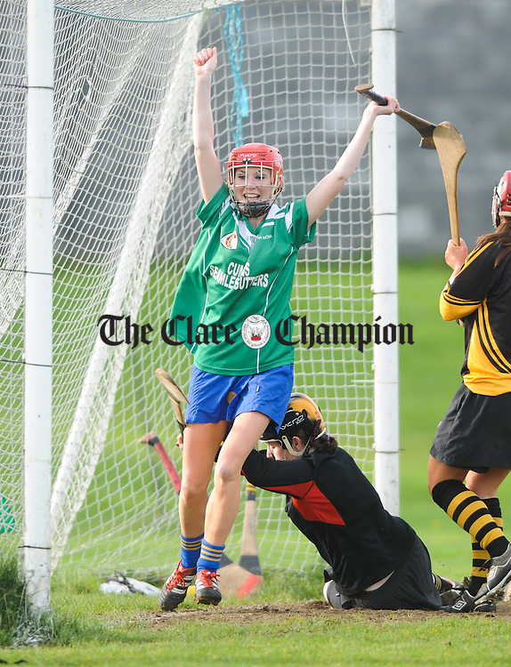 Sharon Rynne of Inagh celebrates her winning goal late in the game against Four Roads during their All-Ireland Junior Club Championship semi final at Clarecastle. Photograph by John Kelly.