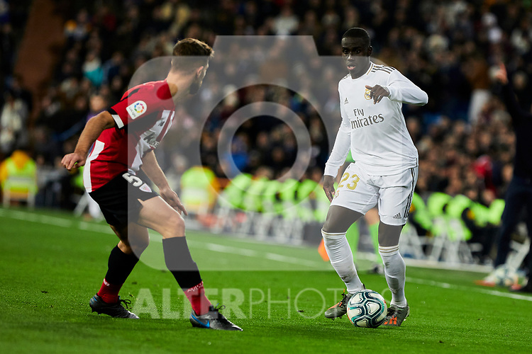 Ferland Mendy of Real Madrid and Yeray Alvarez of Athletic Club during La Liga match between Real Madrid and Athletic Club de Bilbao at Santiago Bernabeu Stadium in Madrid, Spain. December 22, 2019. (ALTERPHOTOS/A. Perez Meca)