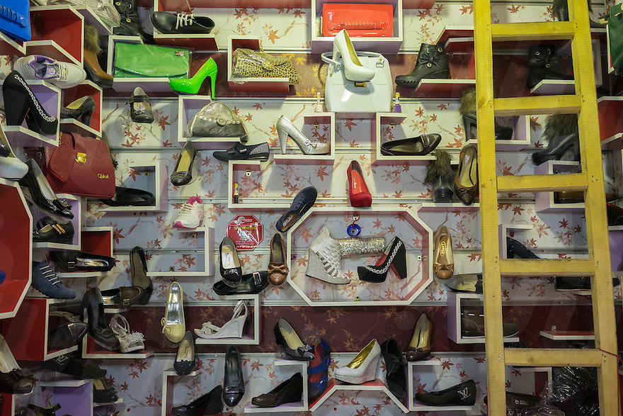 June 07, 2014 - Tabriz, Iran. Women shoes are sold in a shop located inside the local Grand Baazar. Despite the increasing number of malls opened around the country, many Iranians still prefer to shop in traditional bazaars. © Thomas Cristofoletti / Ruom