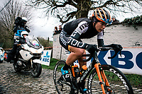 Valeriya Kononenko (UKR/Ciclotel) up the Molenberg<br /> <br /> 75th Omloop Het Nieuwsblad 2020 (BEL)<br /> Women's Elite Race <br /> Gent – Ninove: 123km<br /> <br /> ©kramon