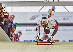 9 January 2016: Dave Greszczyszyn, competing for Canada, pushes off for his first run start of the BMW IBSF World Cup Skeleton race at the Olympic Sports Track in Lake Placid, New York, USA. Greszczyszyn ended the day with a combined 2-run time of 1:50.83 and a 10th place overall finish. Mandatory Credit: Ed Wolfstein Photo *** RAW (NEF) Image File Available ***