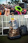 © Joel Goodman - 07973 332324. 05/08/2017 . Macclesfield , UK . A slowly deflating Dalek amongst crowds at the Rewind Festival , celebrating 1980s music and culture , at Capesthorne Hall in Siddington . Photo credit : Joel Goodman