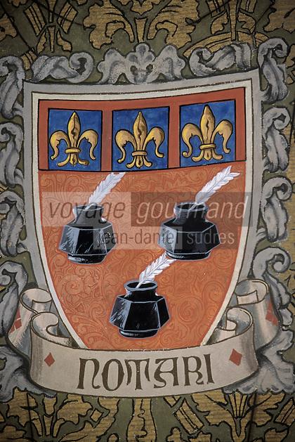 Europe/Italie/Emilie-Romagne/Bologne : Murs peints de la chambre de commerce représentant les corps de métier