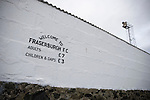 The admission prices painted on an exterior wall at Bellslea Park, home of Fraserburgh FC, prior to the club's Highland League fixture against visitors Strathspey Thistle. Nicknamed 'The Broch,' Fraserburgh have been members of the Highland League since 1921 having been formed 11 years earlier. The match ended in a 2-2 draw in front of a crowd of 302.