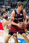 Real Madrid's player Sergio Llull and Barcelona's player Justin Doellman during Liga Endesa 2015/2016 Finals 3rd leg match at Barclaycard Center in Madrid. June 20, 2016. (ALTERPHOTOS/BorjaB.Hojas)