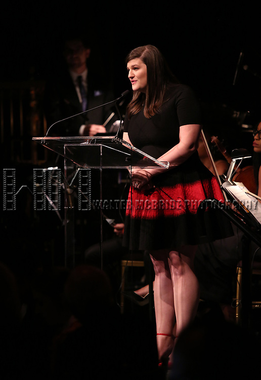 Rachel Routh on stage at the  2017 Dramatists Guild Foundation Gala presentation at Gotham Hall on November 6, 2017 in New York City.