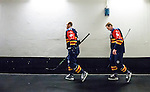 Stockholm 2015-09-04 Ishockey CHL Djurg&aring;rdens IF - EV Zug :  <br /> Djurg&aring;rdens Daniel Brodin och Alexander F&auml;llstr&ouml;m p&aring; v&auml;g till omkl&auml;dningsrummet inf&ouml;r matchen mellan Djurg&aring;rdens IF och EV Zug <br /> (Foto: Kenta J&ouml;nsson) Nyckelord:  Ishockey Hockey CHL Hovet Johanneshovs Isstadion Djurg&aring;rden DIF Zug portr&auml;tt portrait inomhus interi&ouml;r interior