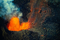 Helicopter view of the fissure 8 eruption and lava flows, Pahoa, Puna, Big Island, Hawaii, USA
