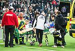 ***BETALBILD***  <br /> Stockholm 2015-09-27 Fotboll Allsvenskan Hammarby IF - AIK :  <br /> Hammarbys Erik Israelsson har skadat sig i samband med sitt 1-0 m&aring;l sedan och skjutas till ambulans under matchen mellan Hammarby IF och AIK <br /> (Foto: Kenta J&ouml;nsson) Nyckelord:  Fotboll Allsvenskan Tele2 Arena Hammarby HIF Bajen AIK Derby skada skadan ont sm&auml;rta injury pain