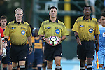 13 September 2016: Referee Carmen Serbio (center) with Assistant Referee Justin Howard (right) and Fourth Official Forrest Ambrose (left). The University of North Carolina Tar Heels hosted the East Tennessee State University Buccaneers at Fetzer Field in Chapel Hill, North Carolina in a 2016 NCAA Division I Men's Soccer match. ETSU won the game 1-0 in sudden death overtime.