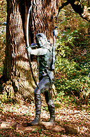 BNPS.co.uk (01202 558833)<br /> <br /> Robin Hood statue in Sherwood Forest.<br /> <br /> A medieval ring found by a metal detectorist in the heart of Robin Hood's Sherwood Forest is tipped to sell for £50,000.<br /> <br /> Mark Thompson unearthed the gold ring in the Nottinghamshire woodland made famous by the legendary outlaw.<br /> <br /> The ring that contains a sapphire gemstone would have belonged to someone in the upper echelons of society in 15th century Sherwood.<br /> <br /> It is the sort of bling Robin Hood would have taken from the rich to give to the poor.
