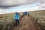 AKUREYRI, ICELAND AUGUST 2013:<br />Dangoor Next generation programme in north west Iceland, Kaylee Hemmings, Josh Davies, Louis Mockler and Rachel Owusu Dappah, team Bull going back to the Base camp form their 1st mission,Aug 2013.<br />@Giulio Di Sturco