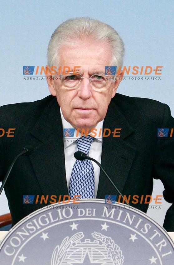 Mario Monti.Roma 14/09/2012 Palazzo Chigi. Conferenza stampa al termine del Consiglio dei Ministri..Press conference at the end of Ministers Cabinet.Photo Samantha Zucchi Insidefoto