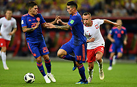 KAZAN - RUSIA, 24-06-2018: Jacek GORALSKI (Der) jugador de Polonia disputa el balón con Juan QUINTERO (Izq) y James RODRIGUEZ (C) jugadores de Colombia durante partido de la primera fase, Grupo H, por la Copa Mundial de la FIFA Rusia 2018 jugado en el estadio Kazan Arena en Kazán, Rusia. /  Jacek GORALSKI (R) player of Polonia fights the ball with Juan QUINTERO (L) and James RODRIGUEZ (C) players of Colombia during match of the first phase, Group H, for the FIFA World Cup Russia 2018 played at Kazan Arena stadium in Kazan, Russia. Photo: VizzorImage / Julian Medina / Cont