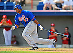10 March 2012: New York Mets outfielder Cesar Puello in action during a Spring Training game against the Washington Nationals at Space Coast Stadium in Viera, Florida. The Nationals defeated the Mets 8-2 in Grapefruit League play. Mandatory Credit: Ed Wolfstein Photo