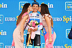 Miguel Angel Lopez (COL) Astana Pro Team retains the young rider's Maglia Bianca at the end of Stage 16 of the 2018 Giro d'Italia, a 34.2km individual time-trial from Trento to Rovereto the stage is a pivotal moment in the fight for the Corsa Rosa's GC, Italy. 21st May 2018.<br /> Picture: LaPresse/Gian Mattia D'Alberto | Cyclefile<br /> <br /> <br /> All photos usage must carry mandatory copyright credit (&copy; Cyclefile | LaPresse/Gian Mattia D'Alberto)