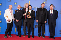 After winning the category of BEST PERFORMANCE BY AN ACTOR IN A MOTION PICTURE &ndash; DRAMA for his role in &quot;Bohemian Rhapsody,&quot; and BEST MOTION PICTURE &ndash; DRAMA for &quot;Bohemian Rhapsody,&quot; Jim Beach, Roger Taylor and Brian May of Queen, Rami Malek, Graham King, and Mike Myers pose backstage in the press room with his Golden Globe Award at the 76th Annual Golden Globe Awards at the Beverly Hilton in Beverly Hills, CA on Sunday, January 6, 2019.<br /> *Editorial Use Only*<br /> CAP/PLF/HFPA<br /> Image supplied by Capital Pictures