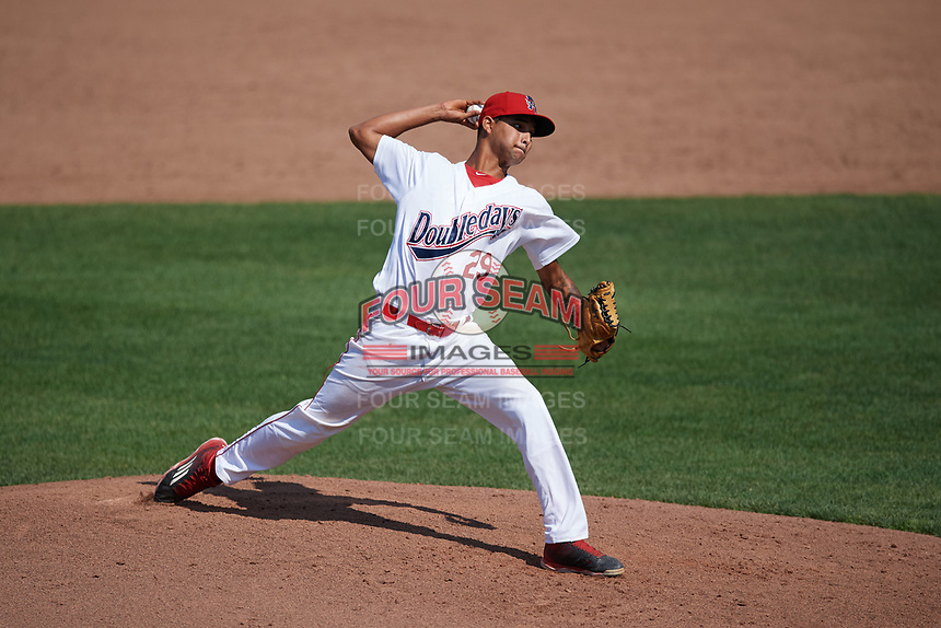 Auburn Doubledays relief pitcher Angel Guillen (29) delivers a pitch during the second game of a doubleheader against the Mahoning Valley Scrappers on July 2, 2017 at Falcon Park in Auburn, New York.  Mahoning Valley defeated Auburn 3-2.  (Mike Janes/Four Seam Images)