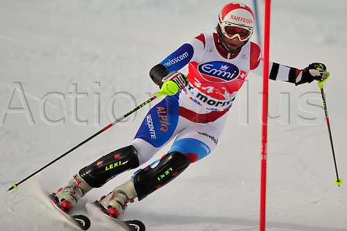 January 29, 2010: M. Abderhalden of Switzerland during the slalom portion of the Super Combined event at the Women's FIS Ski World Cup race in St. Moritz, Switzerland.... Photo CalSport/Actionplus - Editorial Use...