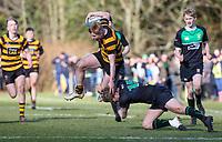 Saturday 17th February 2018   RBAI vs Sullivan<br /> <br /> Connor McCormick during the Ulster Schools' Cup Quarterfinal between RBAI and Sullivan at Cranmore Park, Belfast, Northern Ireland. Photo by John Dickson / DICKSONDIGITAL