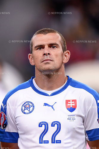 Viktor Pecovsky (Slovakia) ; <br /> June 15, 2016 - Football : Uefa Euro France 2016, Group B, Russia 1-2 Slovakia at Stade Pierre Mauroy, Lille Metropole, France. (Photo by aicfoto/AFLO)