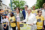 Roxana Maracineanu Minister of Sports, -Jean Rottner President region Grand Est and Michele Lutz Mayor of Mulhouse ready to start Stage 6 of the 2019 Tour de France running 160.5km from Mulhouse to La Planche des Belles Filles, France. 11th July 2019.<br /> Picture: ASO/Pauline Ballet | Cyclefile<br /> All photos usage must carry mandatory copyright credit (© Cyclefile | ASO/Pauline Ballet)