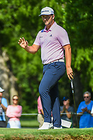 Jon Rahm (ESP) after sinking his birdie putt on 2 during round 3 of the Fort Worth Invitational, The Colonial, at Fort Worth, Texas, USA. 5/26/2018.<br /> Picture: Golffile | Ken Murray<br /> <br /> All photo usage must carry mandatory copyright credit (&copy; Golffile | Ken Murray)