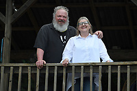 NWA Democrat-Gazette/J.T. WAMPLER  Julie Gabel and Mike Thomas at their Fayetteville home Wednesday June 6, 2018.
