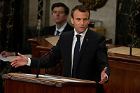 French President Emmanuel Macron delivers a joint address to the United States congress at the United States Capitol in Washington, DC on April 25, 2018. Credit: Alex Edelman / CNP /MediaPunch