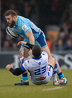 Exeter Chiefs' Luke Cowan-Dickie evades the tackle of Castres Rory Kockott<br /> <br /> Photographer Bob Bradford/CameraSport<br /> <br /> European Rugby Heineken Champions Cup Pool 2 - Exeter Chiefs v Castres - Sunday 13th January 2019 - Sandy Park - Exeter<br /> <br /> World Copyright © 2019 CameraSport. All rights reserved. 43 Linden Ave. Countesthorpe. Leicester. England. LE8 5PG - Tel: +44 (0) 116 277 4147 - admin@camerasport.com - www.camerasport.com