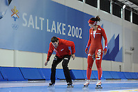 SCHAATSEN: SALT LAKE CITY: Utah Olympic Oval, 13-11-2013, Essent ISU World Cup, training, Gianni Romme (trainer/coach Team LiGA), Mayon Kuipers (NED), ©foto Martin de Jong