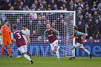 Marko Arnautovic of West Ham United celebrates his goal 1 0 during the Premier League match between West Ham United and Chelsea at the Olympic Park, London, England on 9 December 2017. Photo by Andy Rowland.