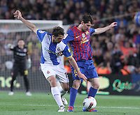 5/05/2012. Barcelona, Spain. La Liga. Picture show Leo Messi and Victor Sanchez in action during match FC Barcelona against RCD ESpanyol at Campo Nou