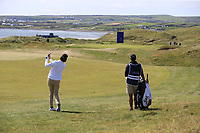 Pedro Figueiredo (POR) plays his 2nd shot on the 3rd hole during Thursday's Round 1 of the Dubai Duty Free Irish Open 2019, held at Lahinch Golf Club, Lahinch, Ireland. 4th July 2019.<br /> Picture: Eoin Clarke | Golffile<br /> <br /> <br /> All photos usage must carry mandatory copyright credit (© Golffile | Eoin Clarke)