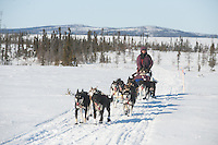 Robert Bundtzen arrives at the Iditarod checkpoint during the 2011 Iditarod.