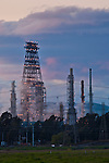 Steam rising from oil refinery refining plant near Clyde, California