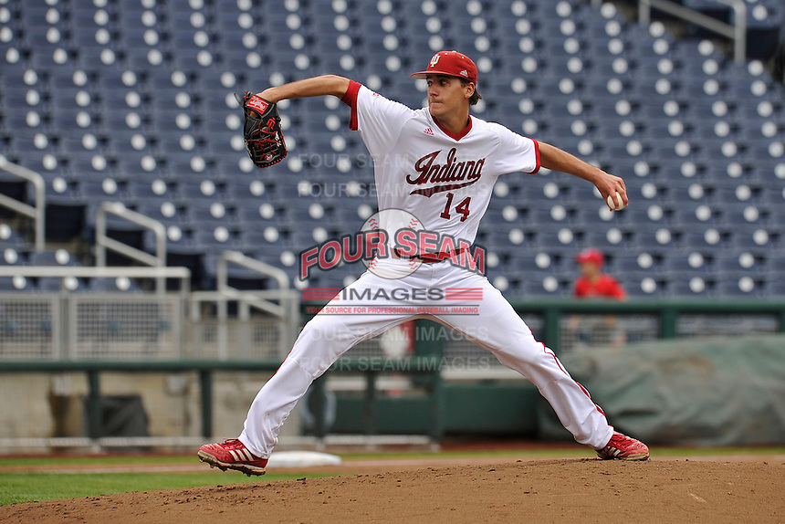 Indiana Hoosiers starting pitcher Kyle Hart (14) throws during the Big Ten Tournament game against the Maryland Terrapins at TD Ameritrade Park on May 25, 2016 in Omaha, Nebraska.  Maryland  won 5-3.  (Dennis Hubbard/Four Seam Images)